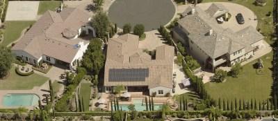 California neighborhood solar panels and pools on houses