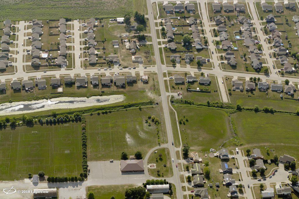 Homes with tornado damage in Polk County, Iowa.